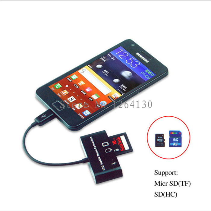 Micro USB OTG Adapter Kit Cable for Samsung S5/S4/S3 HTC ONE MOTO SONY XPERIA Z1 Z2 Z3 G1 G2 G3 with SDHC/SD/TF Card Reader(China (Mainland))