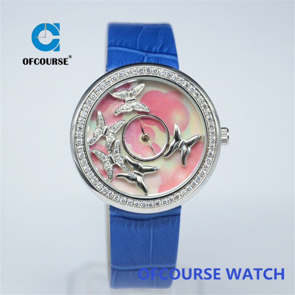 Fashion interchangeable genuine leather strap women watches with pin buckle(China (Mainland))