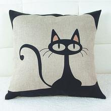 Vintage Style Cat Patterns Cotton Linen Pillow Case Sofa Throw Cushion Cover