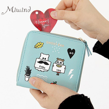 Buy 2016 Korean Vintage Cute Anime Cat Leather Women Slim Mini Wallet Girl Small Purse Female Coin Credit Card Holder Dollar Price for $6.50 in AliExpress store