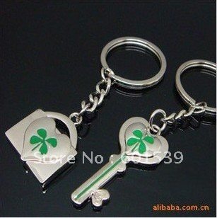 Christmas promotion  Lucky 4-leaves Alloy keychain as gift for lovers and friends.Wholesale 50pair/lot+Free shipping