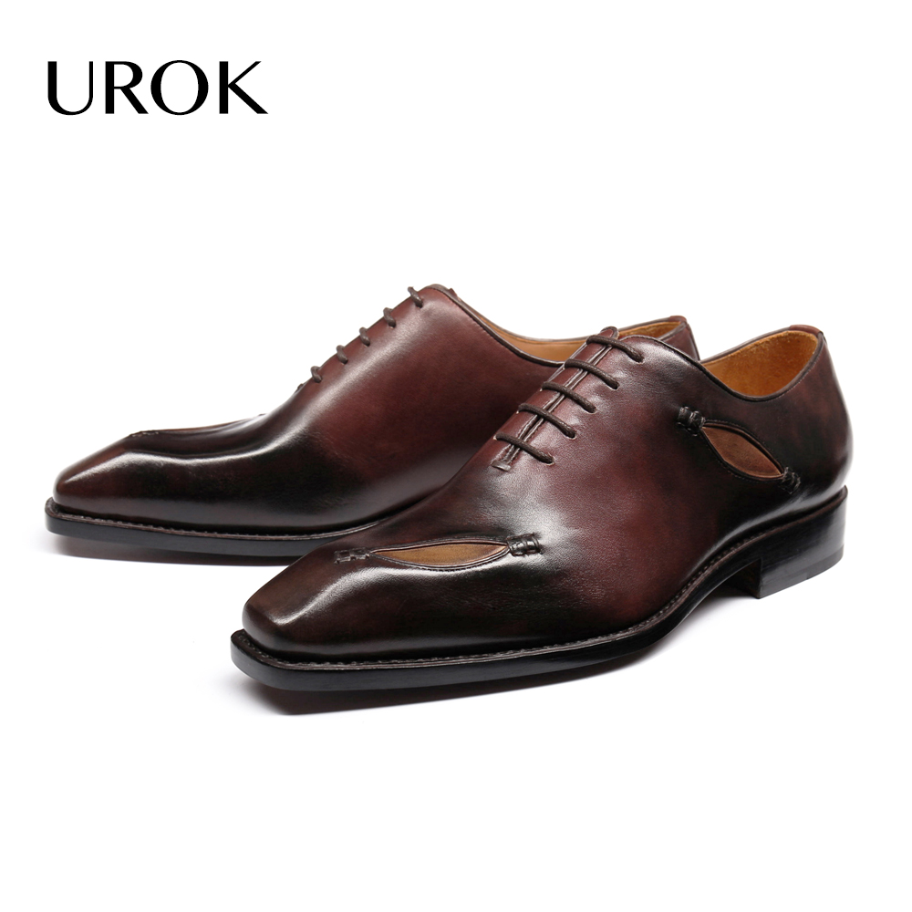 UROK 2016 Custom Made Men Oxford Shoes Goodyear Full Grain Leather Plain Square Toe Patchwork Office Flats Men Dress Shoes(China (Mainland))