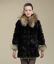 2015 New Arrival Women Fur Coats Winter Real Rabbit Fur Coat With Raccoon Dog Fur Trims Hood Fur Jackets Winter YC247