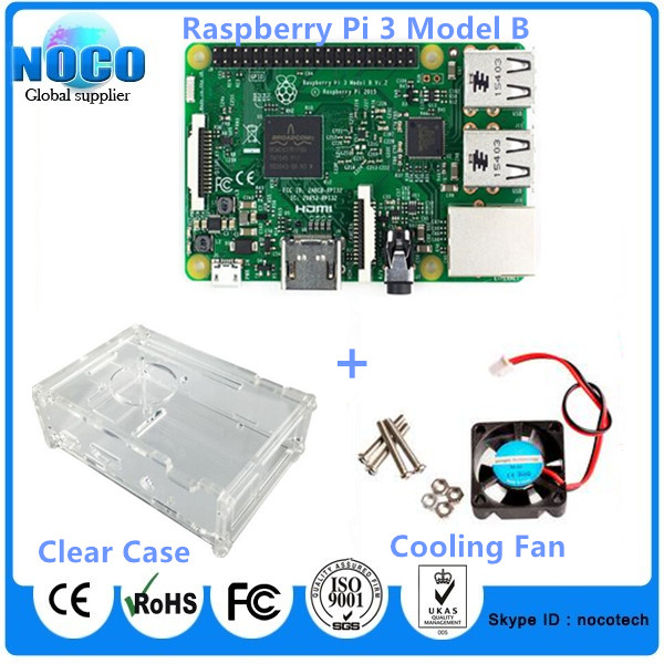 Wholesale Raspberry Pi 3 Model B Kit Pi3 3B With Built-in WIFI and Bluetooth Connectivity + Transparent Case + Cooling Fan Set(China (Mainland))