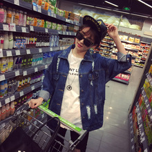 spring 2017 in the Korean new long hole loose coat washed denim jeans casual long female(China (Mainland))