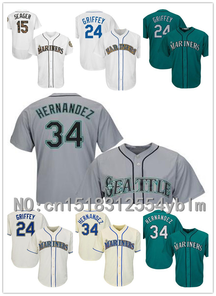 Men and momen Seattle Mariners #15 Kyle Seager #24 Ken Griffey #34 Felix Hernandez White Green Gray baseball Jersey Wholesale(China (Mainland))