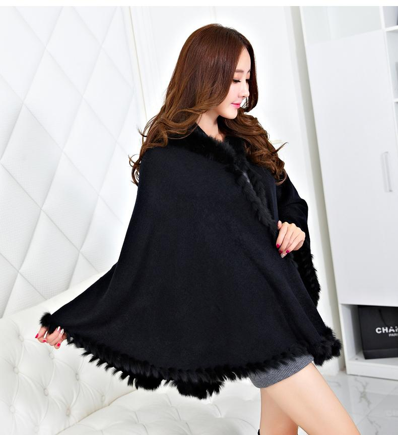 Hot Sale Real Rabbit fur Trim Cape Pashmina women big size Shawl cape stole For Female Shawl of a Poncho Handmade Knitted cape(China (Mainland))