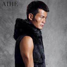 2015 spring male black fur vest  genuine rabbit fur men's hooded coat  top quality genuine leather  XXXL Men rabbit sweater vest(China (Mainland))