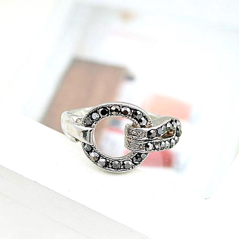 2016 Hot Selling For Womens Fashion Simple Korea Edition Retro Imitation Diamond Crystal Belt Silver Bronze Buckle Ring R121(China (Mainland))