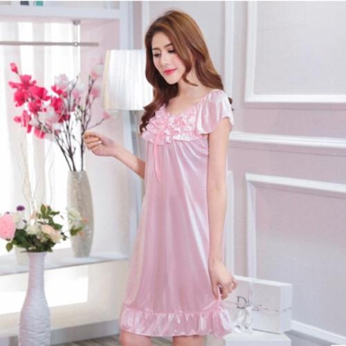 2016 summer ladies sexy silk satin nighties short sleeve nightgown v neck night dress night shirt solid sleep shirt nightwear(China (Mainland))