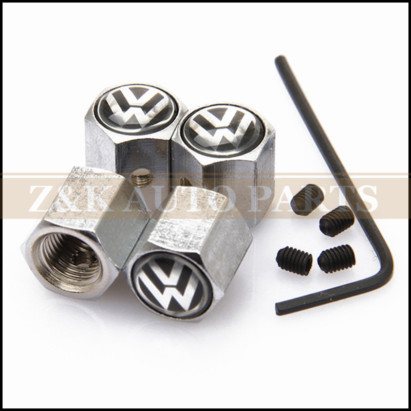 Stainless steel Anti-theft Style White and Black VW LOGO Car Badge Wheel Tire Valve Cap Tyre Dust Cap For Classical Volkswagen(China (Mainland))