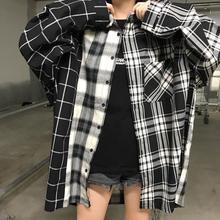 Осенние повседневные женские рубашки в Корейском стиле в стиле хип-хоп Харадзюку с длинными отворотами, клетчатая пуговица, карман, женские...(China)