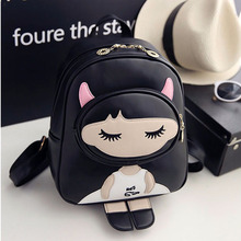 Buy LI REN NIAO Cartoon Characters Backpack Black Preppy Style School Backpacks Funny Pu Leather Fashion Travel Back Pack Style HPG for $19.13 in AliExpress store