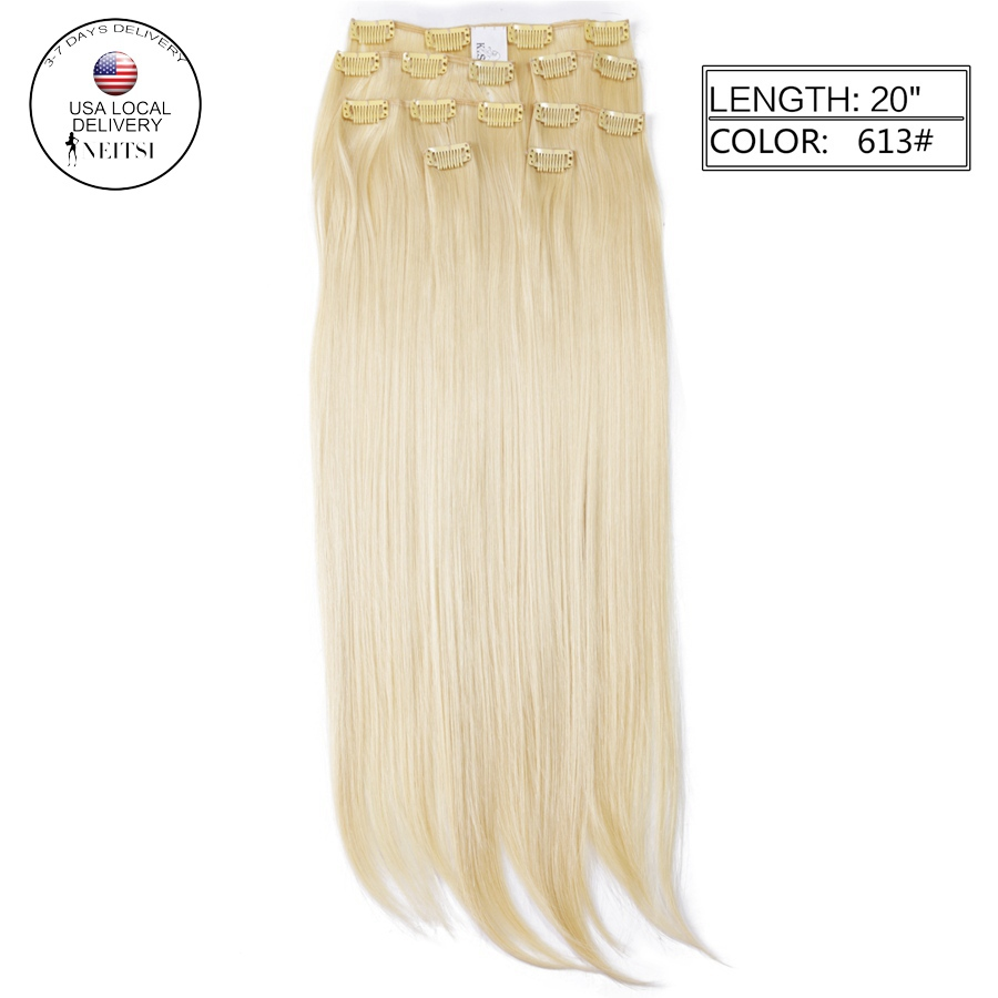 "Neitsi 22"" 7pcs/set 140g 16clips Straight Synthetic Clip In Hair Extensions Heat Resistant Hair 613# Blonde Braiding Hairpieces(China (Mainland))"