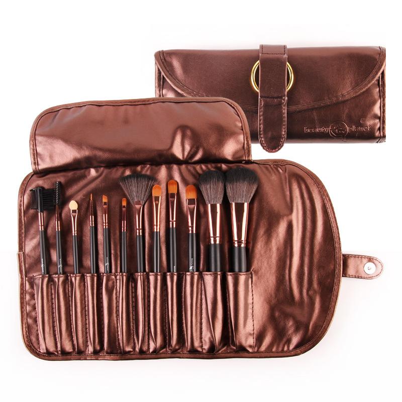 12 pcs kabuki makeup brushes Microfiber hair brush set makeup brush top grade Brown cosmetic bag maquillaje china(China (Mainland))