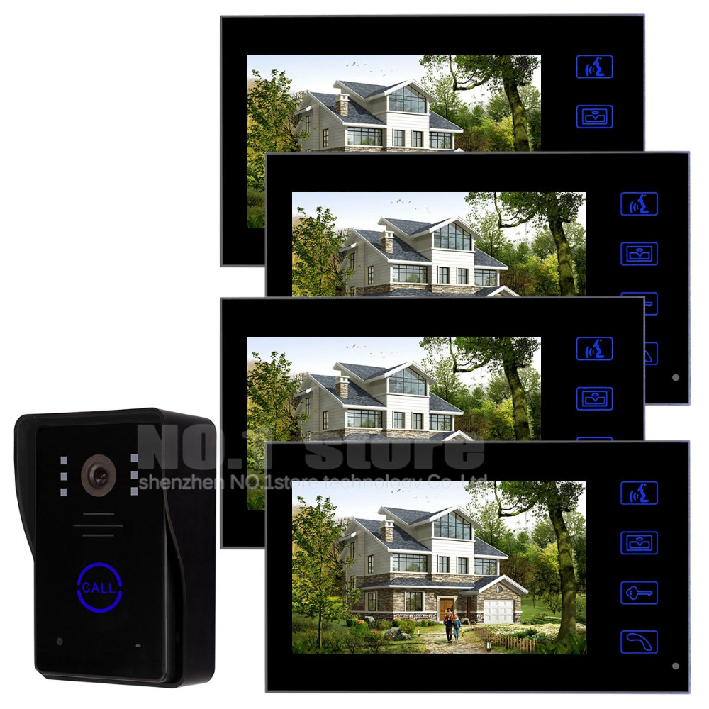 7 inch Color Monitor Door Phone Doorbell Intercom 1 Camera 4 Monitors Home Security Intercom System Kit SY806MJ14<br><br>Aliexpress