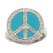 Factory Price Top Quality Silver Plated Mosaic Crystal Blue Peace Sign Ring (Opening Ring) Silver Jewelry TS-DRI034(China (Mainland))