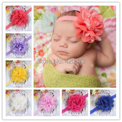 Free Shipping 12 Colors Solid Chiffon Flower Headband,Lace Flower Headband,Baby Boutique Chiffon Lace Flower With Elastic(China (Mainland))