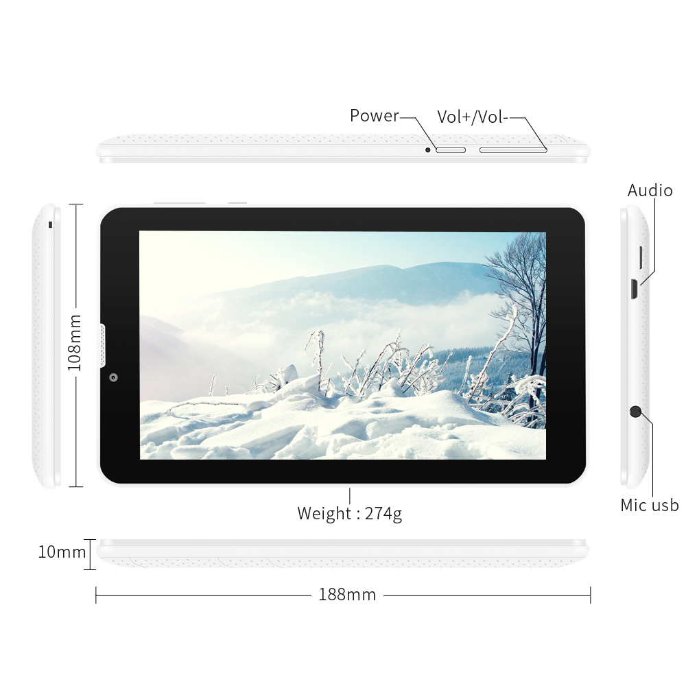 YUNTAB white E706 7″ Google Android 5.1 Tablet 3G Unlocked phone Tablet PC Quad-Core Touch Screen Dual Camera