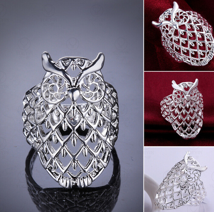 OWL rings for women cute party accessories delicate hollow owl wholesale summer style silver 925 new brand gift R541(China (Mainland))