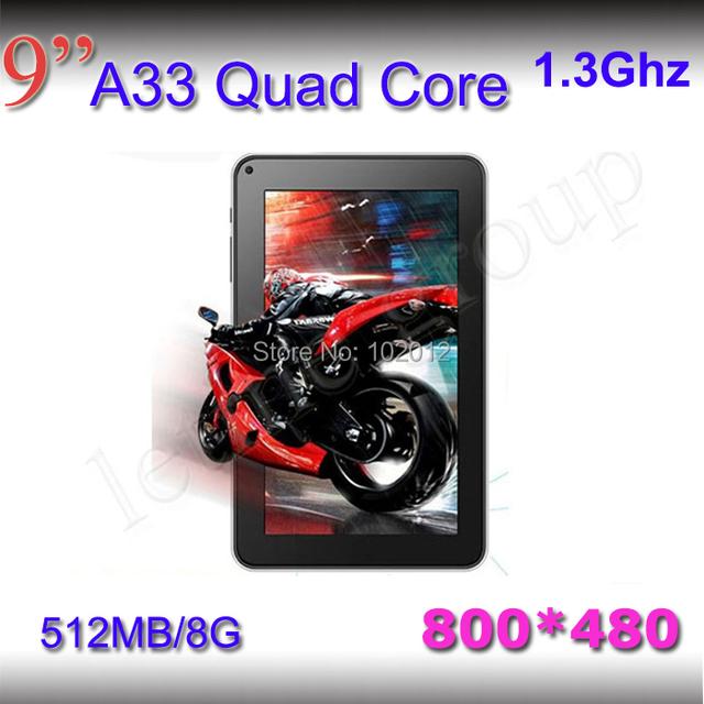 Quad core bluetooth 2pcs/lot 1.5GHZ! 1G/8GB 800*480 allwinner A33 4000mAh dual camera Android 4.2  tablet 9 inch pc