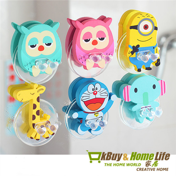Free shipping cute Cartoon Owl sucker toothbrush holder suction hooks bathroom set accessories Eco-Friendly(China (Mainland))