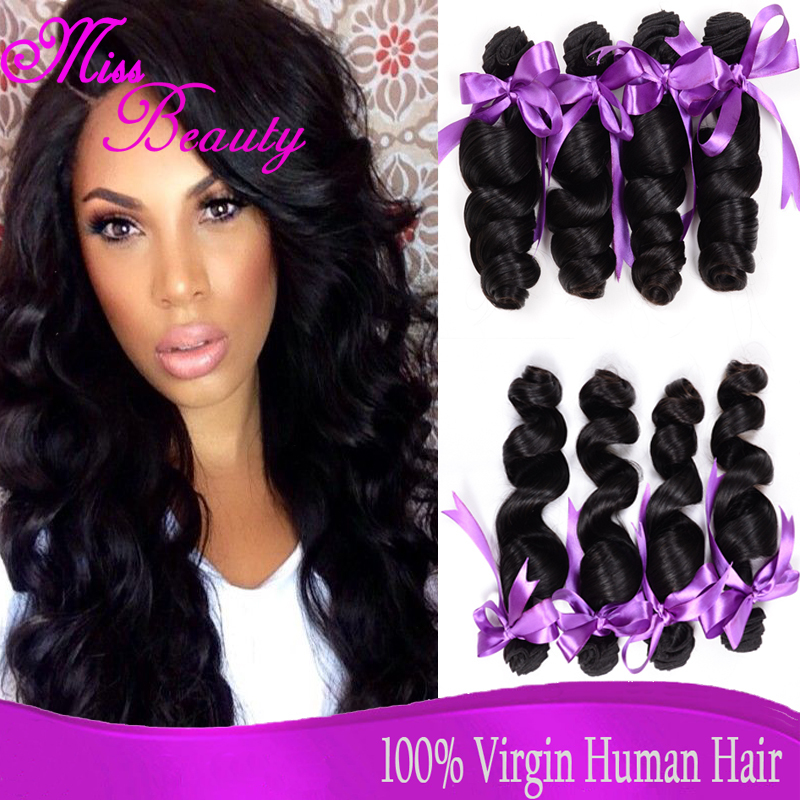 "5A Brazilian Virgin Hair Loose Wave 4 Bundles 8""-30"" Natural Color Brazilian Human Hair Weave Cheap Hair Extensions Loose Wave(China (Mainland))"
