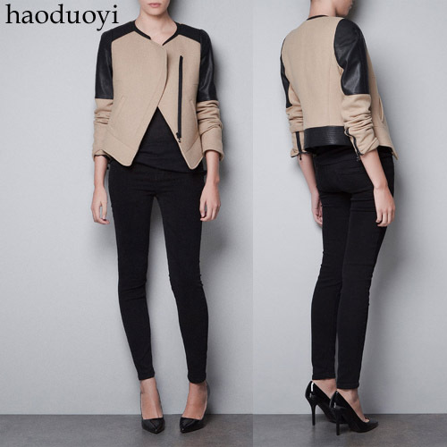 2015 Time limited Promotion Zipper O neck Full Button Wide waisted Jeans Jacket Women Coat Free