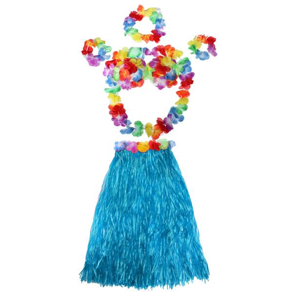 Colourful Hot Summer Beach Ladys Hawaiian Grass Skirt Funny Party Flowers Hula Wristband Garland Costumes Sets(China (Mainland))