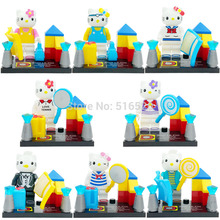 Cute Lovely Cat Girl 8pcs/lot Minifigure Action Figure Assemble Figure Building Blocks Sets Toys