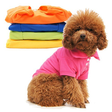 Casual Puppy Cat Pet Dog Clothes Lapel POLO T-Shirts Solid Cozy Shirt XS S M L Large(China (Mainland))