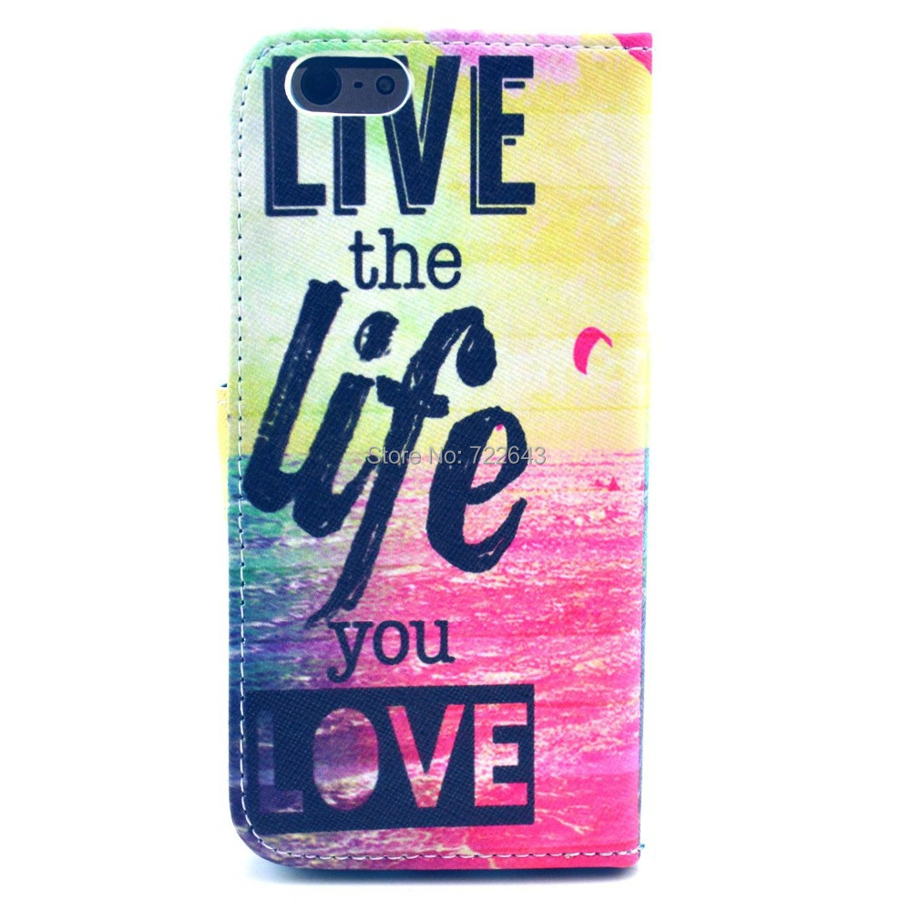 #74458 Ocean Live the Life You Love Design PU leather Flip Magnetic Leather Card Slots Case Cover For Apple Iphone 6 4.7 Inch(China (Mainland))