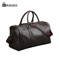 Baigio Men Travel Bag Genuine Leather Large Capacity Luggage Waterproof Weekend Duffle Bag