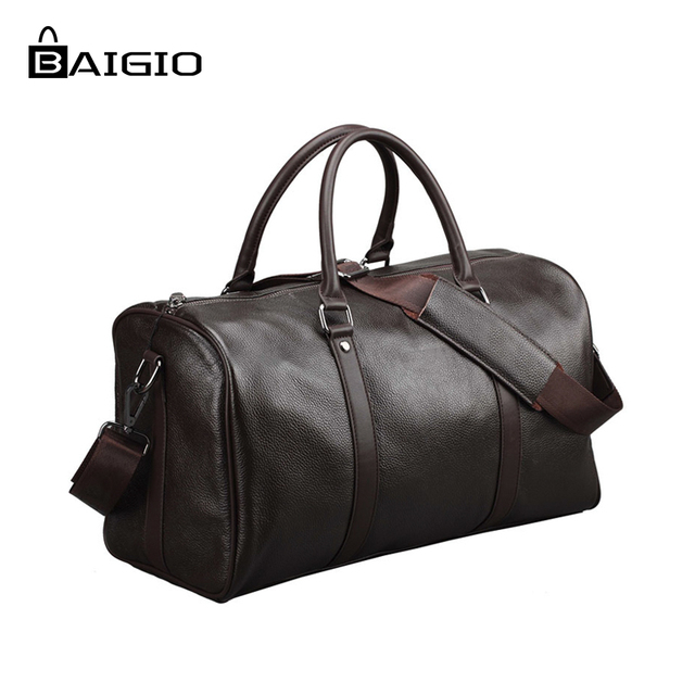 Look Genuine Leather Travel Bag Men Duffle Bag Large Capacity Bag