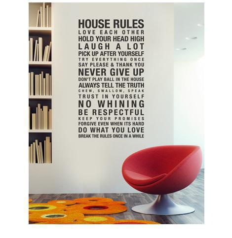 Large house rules wall art quotes wall decals vinyl stickers home decor ZY8010(China (Mainland))
