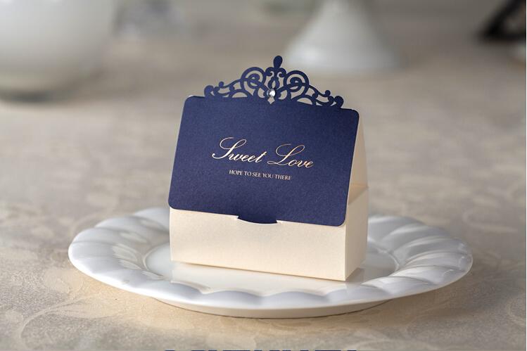 Free shipping 1pcs royal blue laser cut wedding favor for Favor boxes for wedding