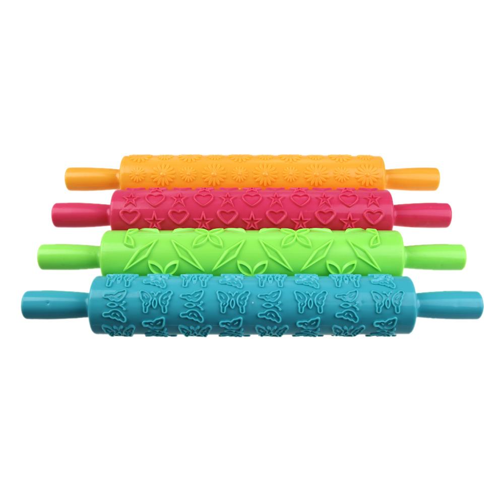 4 Colors Fondant Ribbon Stripe Bow Cutter Roller Pin Embosser Decorating Cake Paste Dough Plastic Compact DIY Cooking Tool Set(China (Mainland))