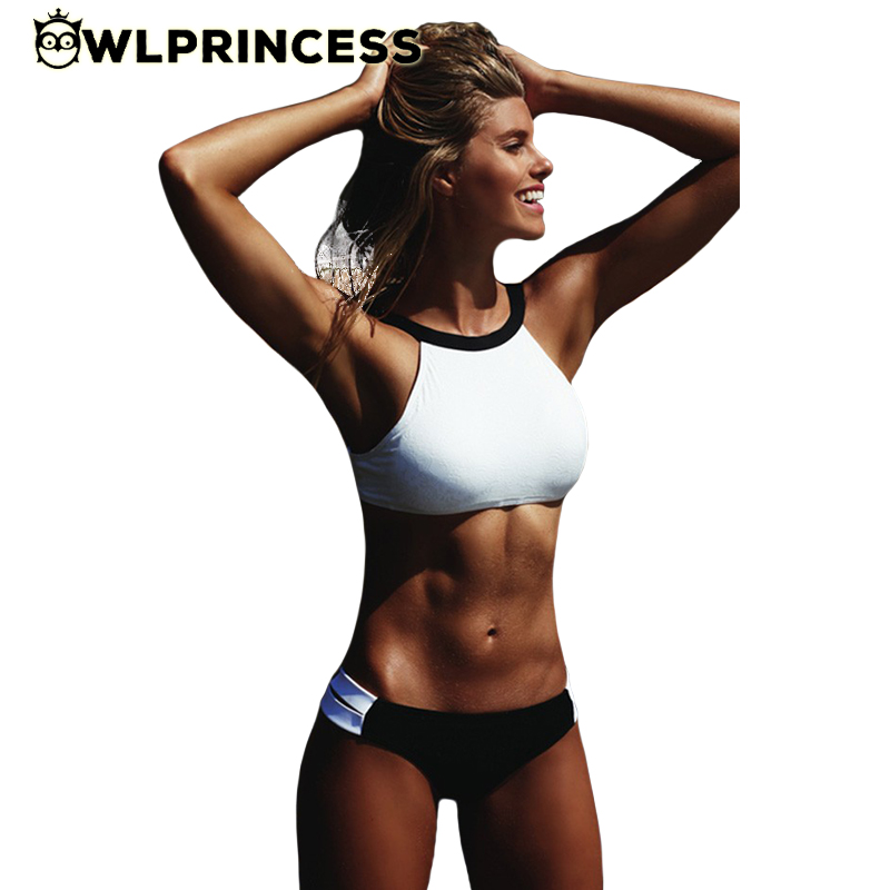 HOT!! CHEAP sexy 2 pieces swimwear White Black Patchwork bikini 2016 swimsuit crop top push up Tankinis vintage bathing suits(China (Mainland))