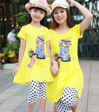 Family clothing sets 2014 summer Cartoon Casual Fashion T-Shirt + pants 2 PCS set Mother and daughter Girls clothing set(China (Mainland))