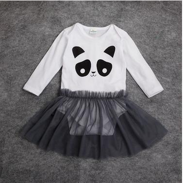 2015 Autumn Hot Panda Romper climb two sets of cotton long-sleeved dress + veil fashion female baby jumpsuit(China (Mainland))