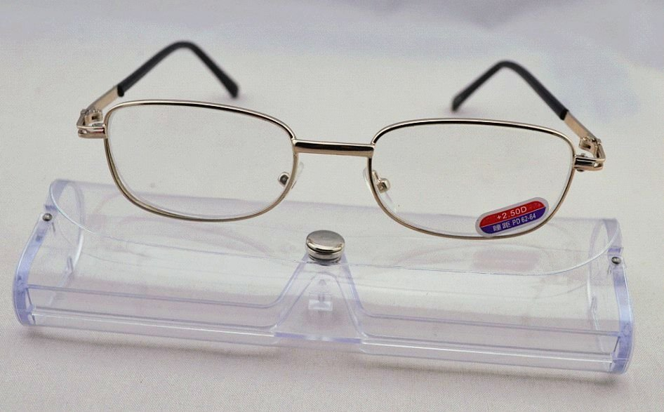 Discount High Quality Glass Lens Reader, Alloy Frame Reading Eyewear with Case, Free Shipping(China (Mainland))