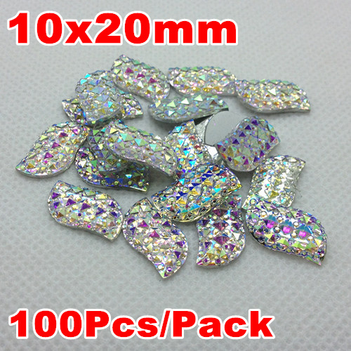 Crystal AB Color 10x20mm 100Pcs S Leaf Shape Sparkly Glitter Faux Acrylic Resin Stones Flatback Decoden Kawaii Cabochons(China (Mainland))