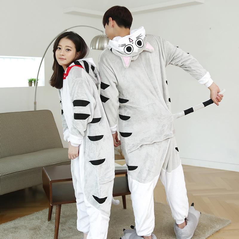 Female Mink Fleece Nightgown Girls Men Home Furnishing Siamese Cat Winter Pajamas Cartoon Animal Lovers Convenient Toilet(China (Mainland))