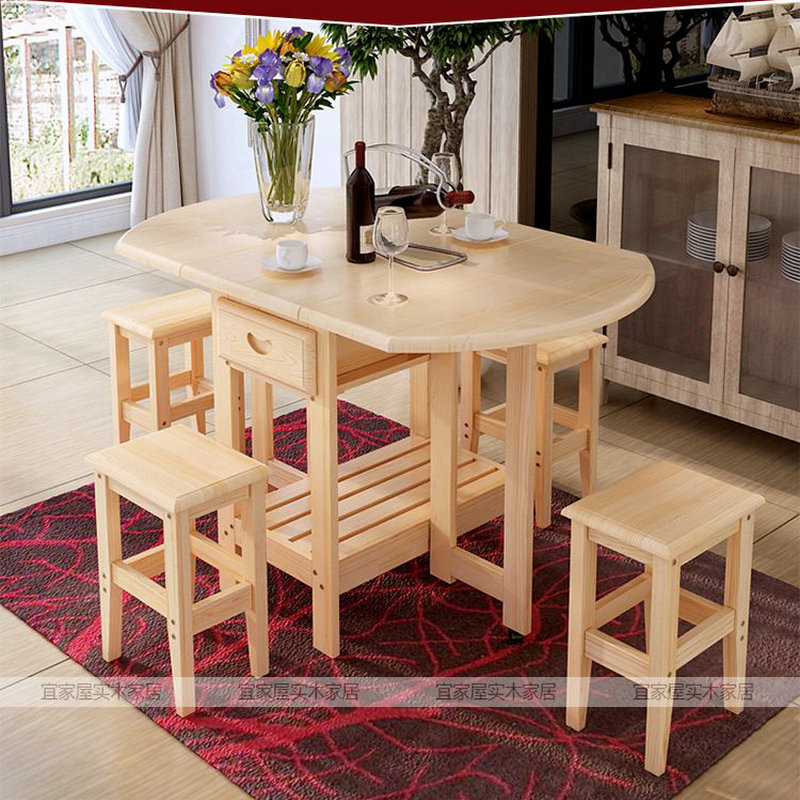 Solid Pine Wood Semi Circle Fold Able Coffee Dining Table With Four Chairs