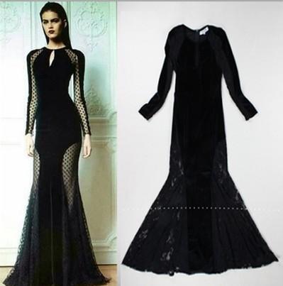 2014 Fashion Slim Fit Elegant and sexy fish tail full lace dress Extra long dress(China (Mainland))
