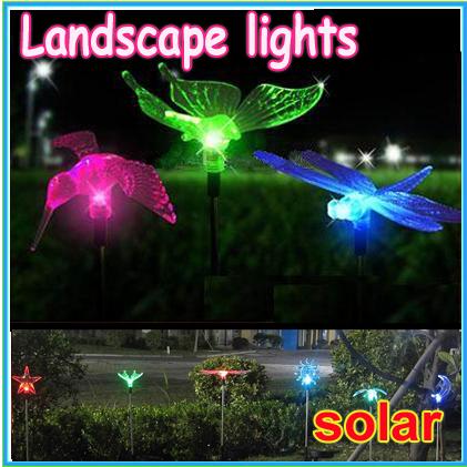 3pcs/lot new lovely solar powered colorful bird lights solar garden Landscape lights butterfly Dragonfly bird can chose(China (Mainland))