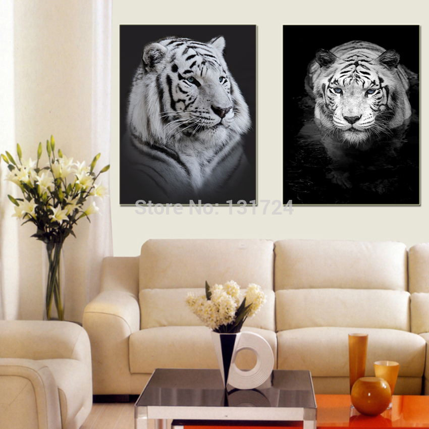 Unframed 2 Pcs White Tiger Lovely Animal Canvas Painting Pictures Prints Cool Home Decoration for Room Wall Modern Fashion Gifts(China (Mainland))