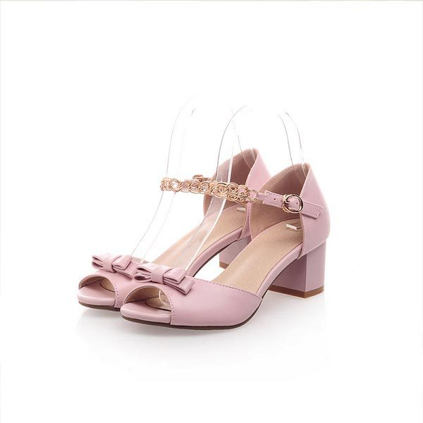 2015 summer new womens fashion elegant  sandals sweet bow buckle high-heeled sandals fish head solid  sandals D271<br><br>Aliexpress