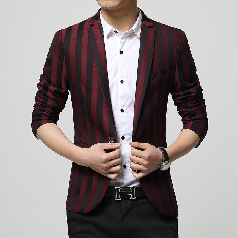 Top Fashion 2015 Party Blazer Men Nightclub Necessary Casual Suit Jacket Men High-end Slim Fit Suits Stripe Coat Men's Suit(China (Mainland))