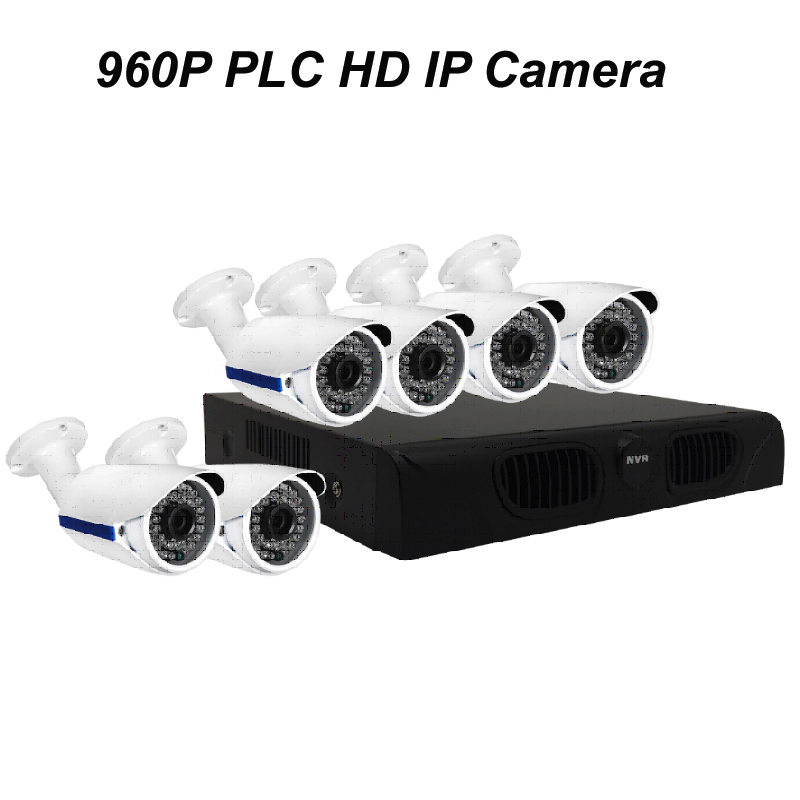 6pcs of 960P PLC HD IP Bullet Camera with 1080P NVR DIY Kit with Power Line Communication & P2P Cloud Server & Free APP for Live(China (Mainland))